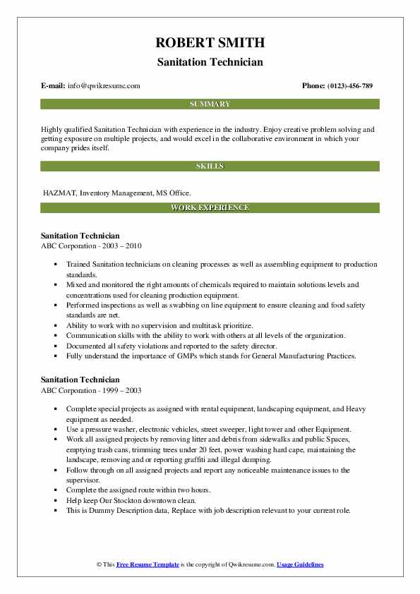 Sanitation Technician Resume example