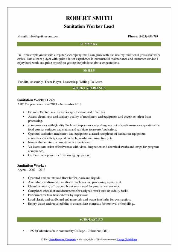 Sanitation Worker Lead Resume Example