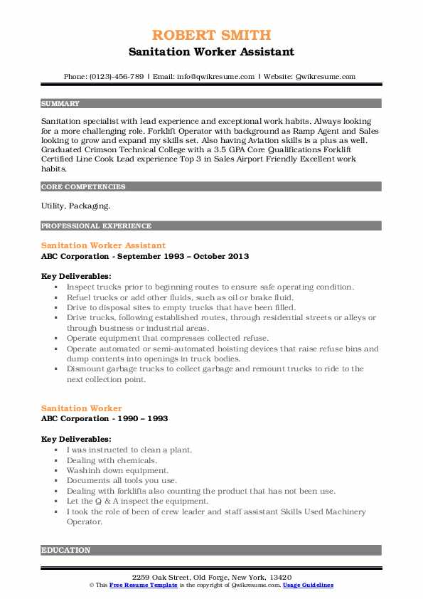 Sanitation Worker Assistant Resume Format