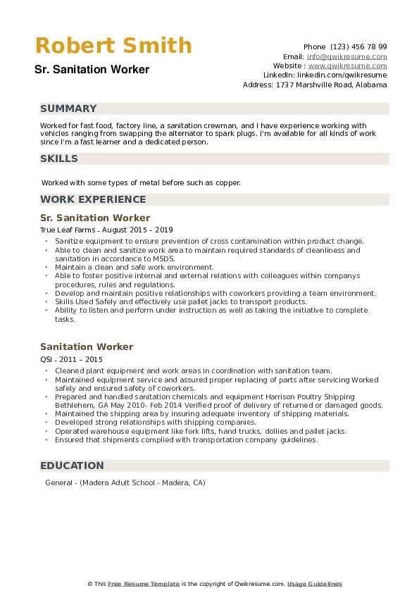 Sr. Sanitation Worker Resume Format