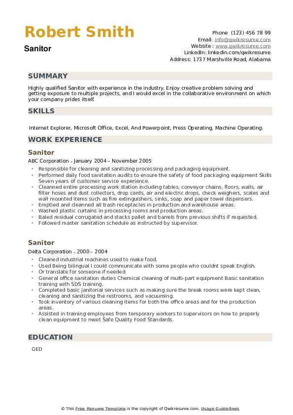 Sanitor Resume example