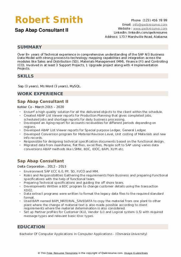 SAP ABAP Consultant Resume example