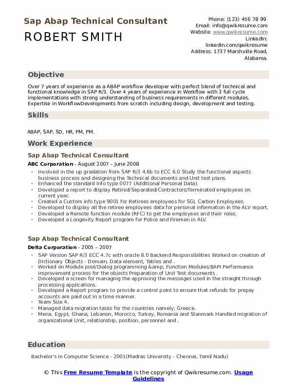 Sap Abap Technical Consultant Resume Samples Qwikresume
