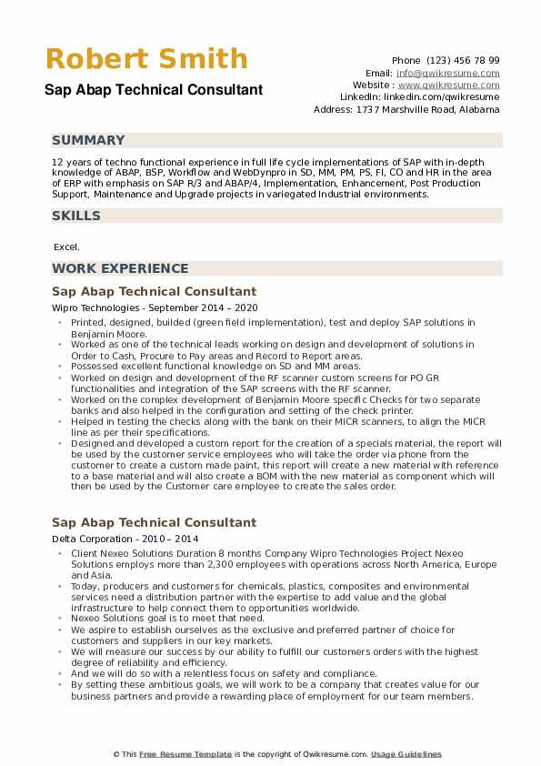 Sap Abap Technical Consultant Resume example