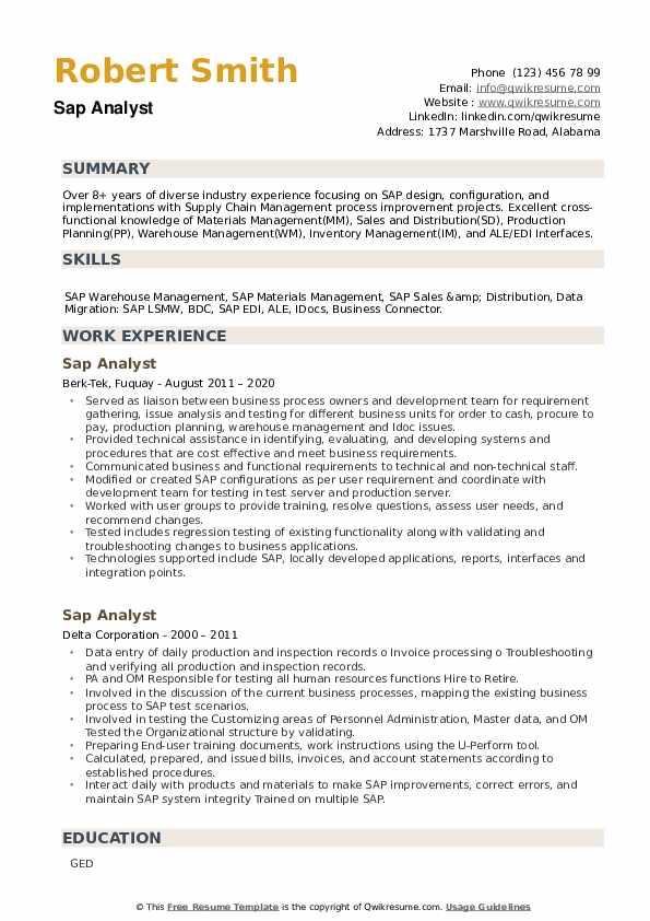 Sap Analyst Resume example