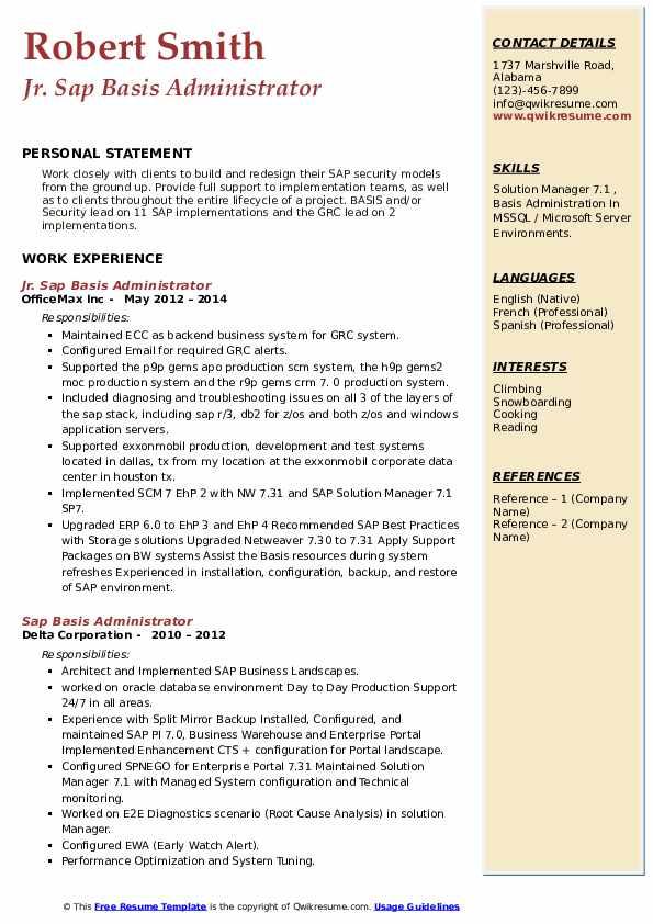 sap basis administrator resume samples  qwikresume