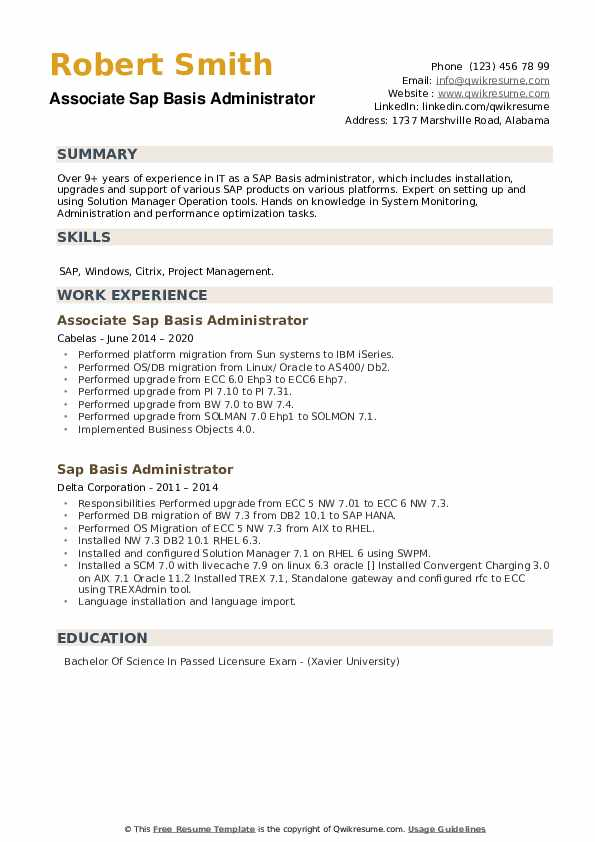 sap basis monitoring resume