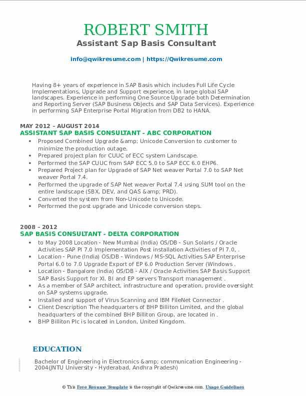 sap basis consultant resume samples  qwikresume
