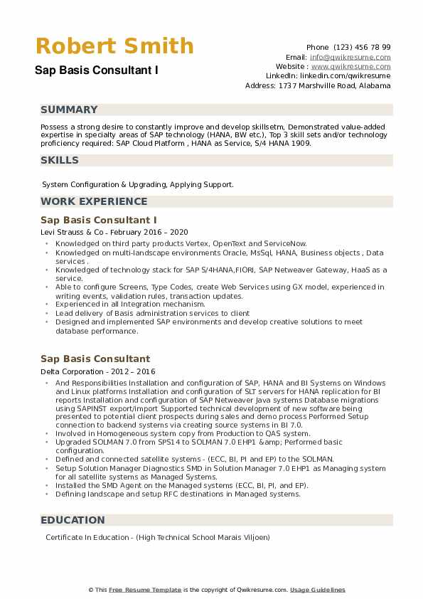 SAP Basis Consultant Resume example