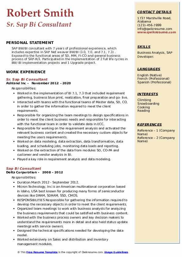 Sap Bi Consultant Resume Samples Qwikresume