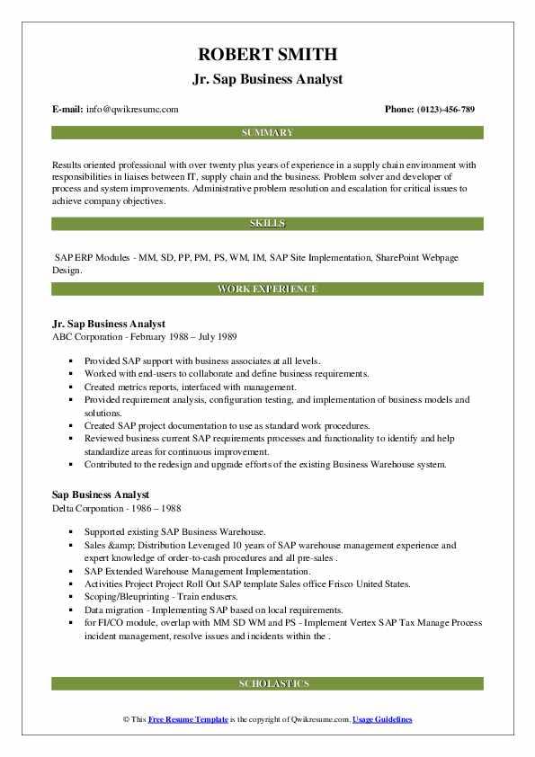 sap business analyst resume samples