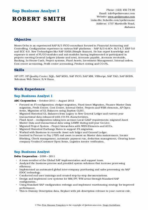 Sap Business Analyst Resume Samples Qwikresume