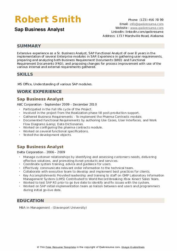 SAP Business Analyst Resume example