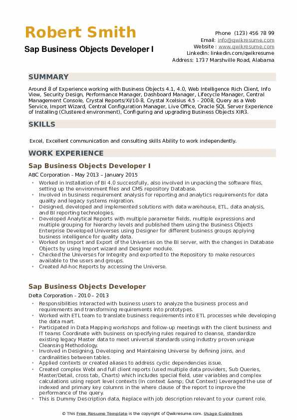 SAP Business Objects Developer Resume example