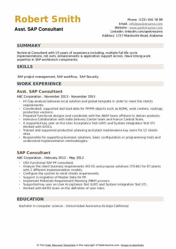 Sap Consultant Resume Samples Qwikresume