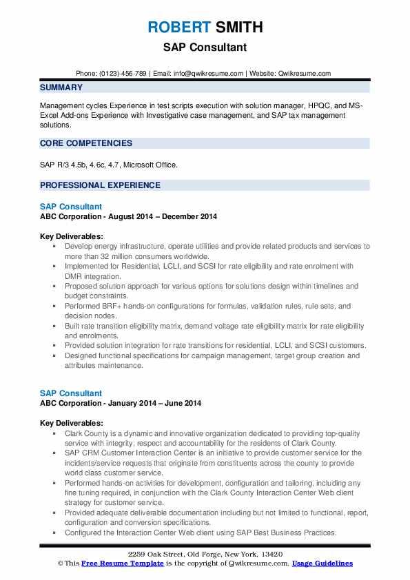 Sap Consultant Resume example