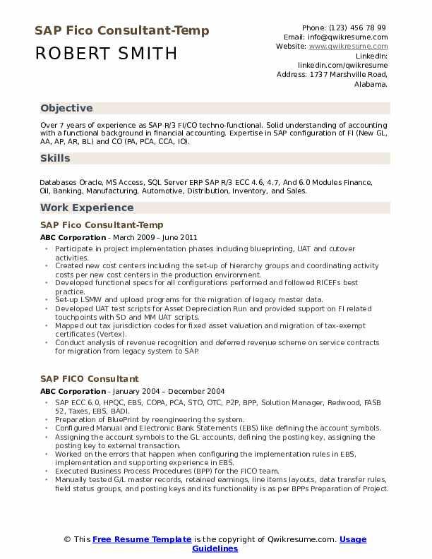sap fico consultant resume samples  qwikresume