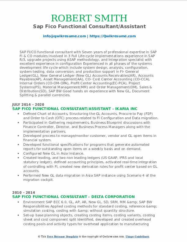 sap fico functional consultant resume samples  qwikresume