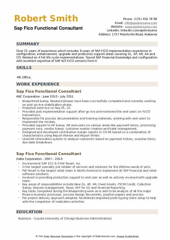 SAP FICO Functional Consultant Resume example