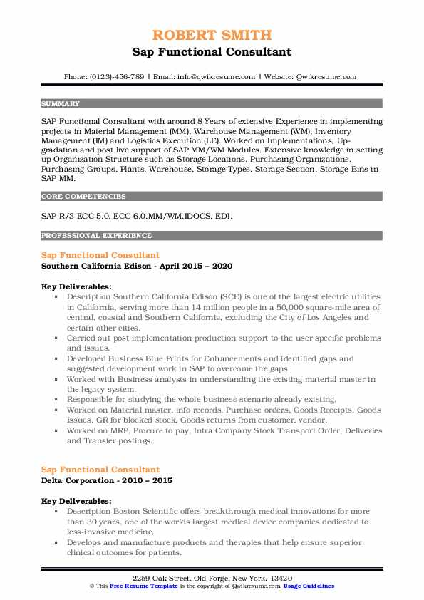 Free Core Functional Resume Template from assets.qwikresume.com