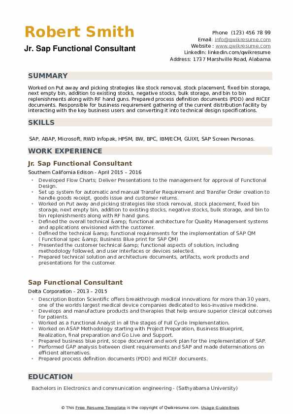 SAP Functional Consultant Resume example