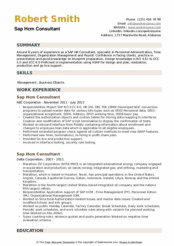 SAP HCM Consultant Resume example