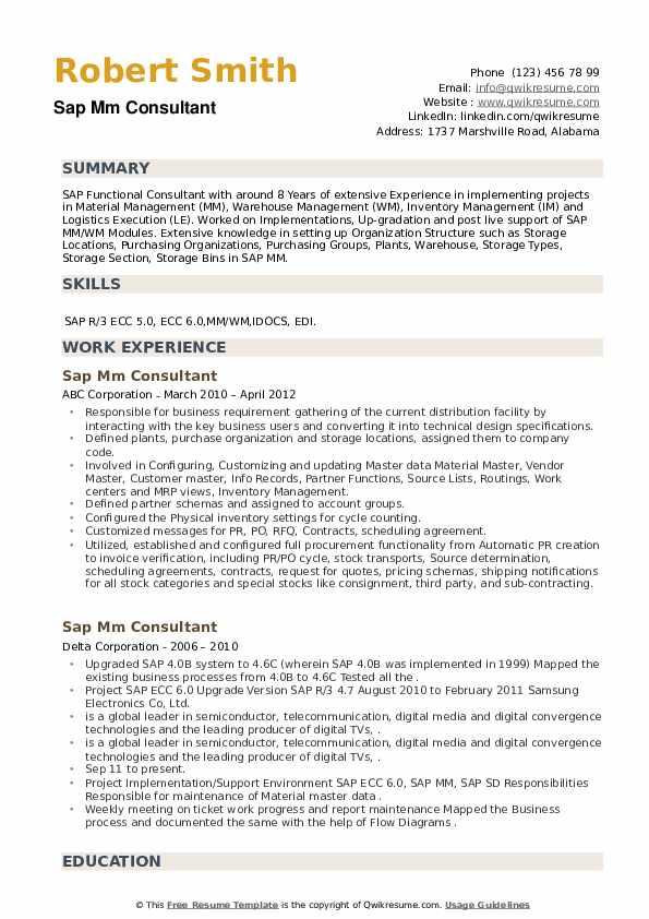 SAP MM Consultant Resume example