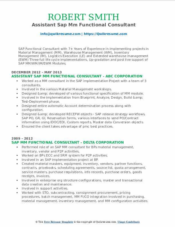 sap mm functional consultant resume samples  qwikresume