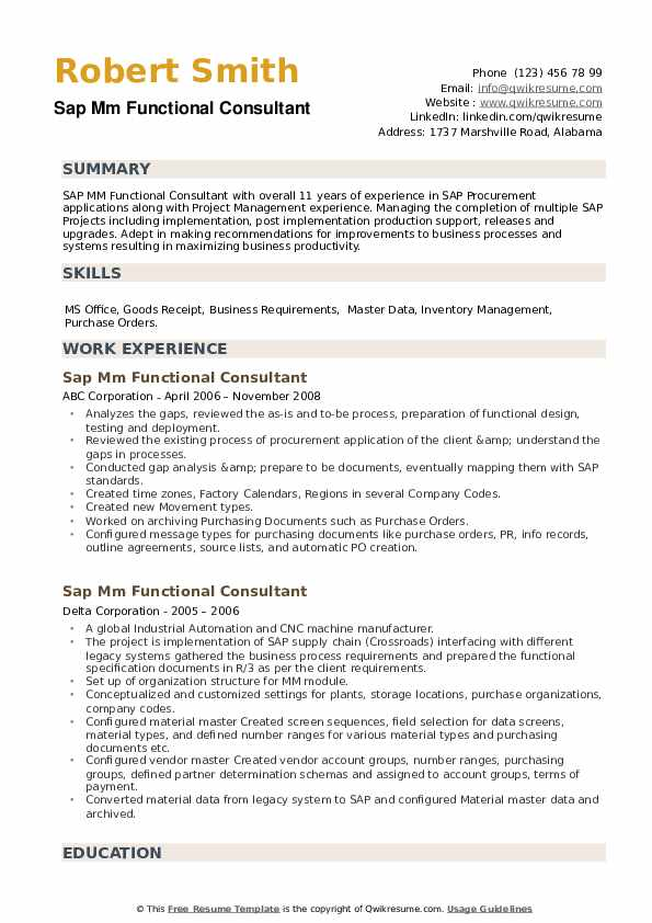 SAP MM Functional Consultant Resume example