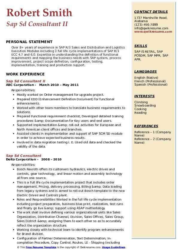 sap sd consultant resume samples  qwikresume