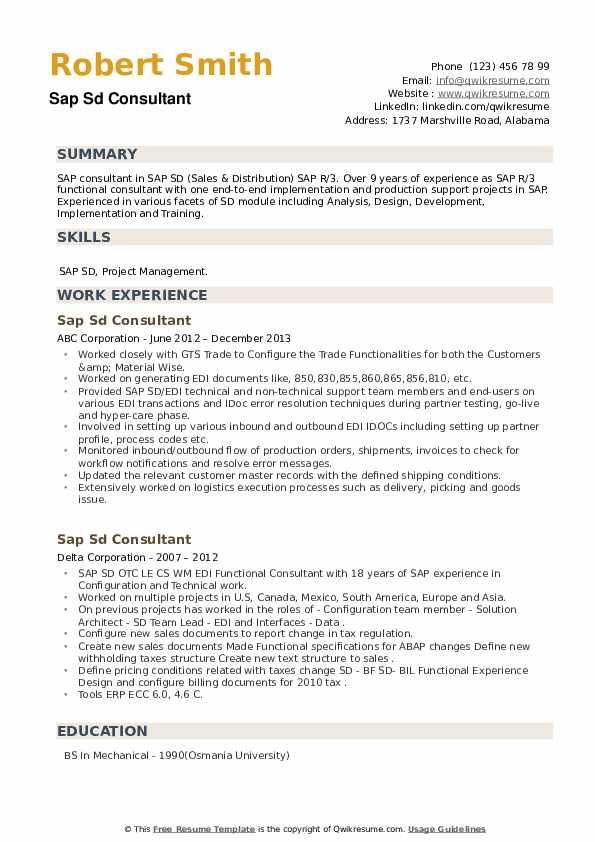 SAP SD Consultant Resume example