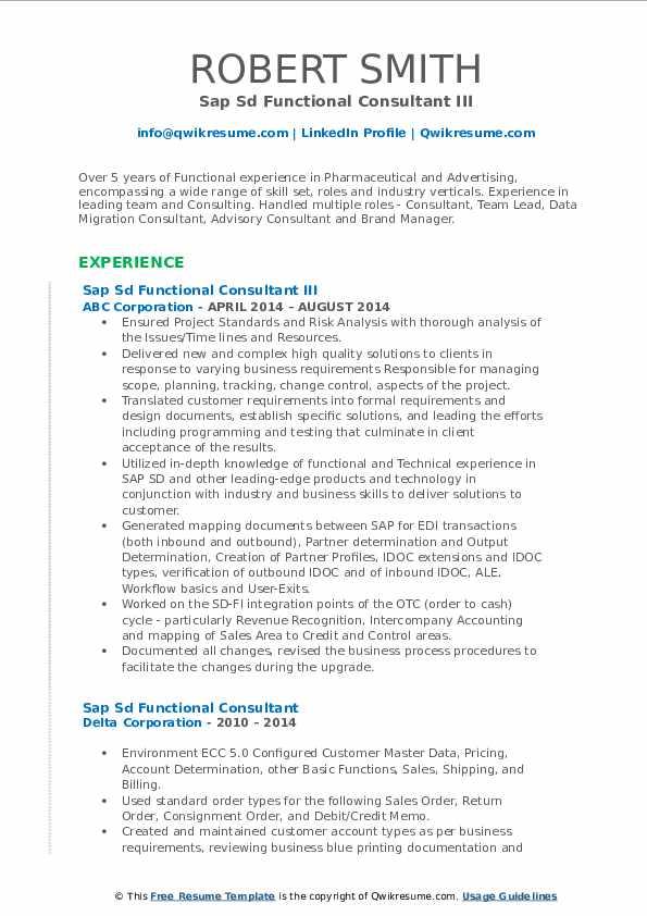 sap sd functional consultant resume samples  qwikresume