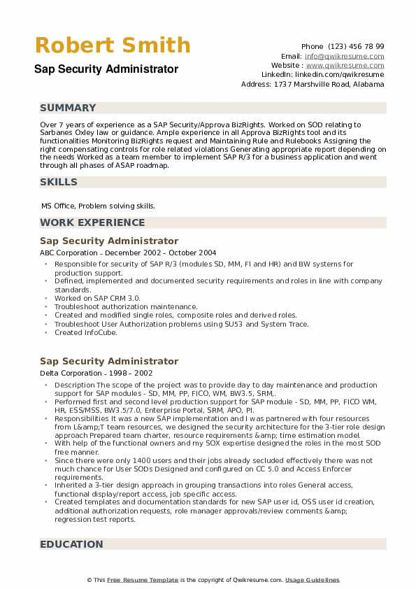 SAP Security Administrator Resume example