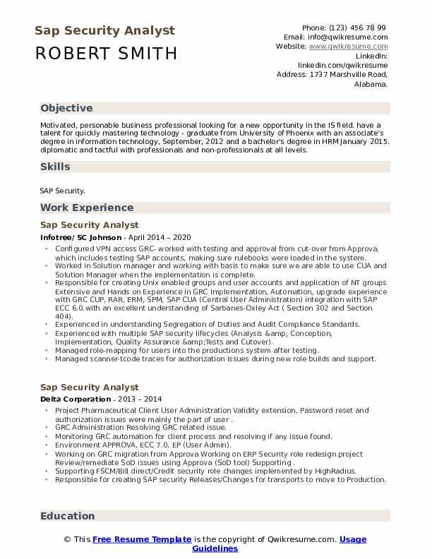 sap security analyst resume samples  qwikresume
