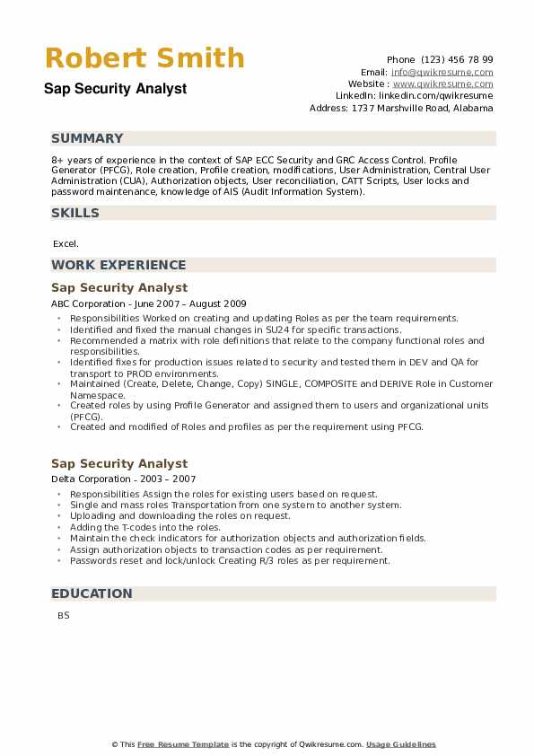 SAP Security Analyst Resume example