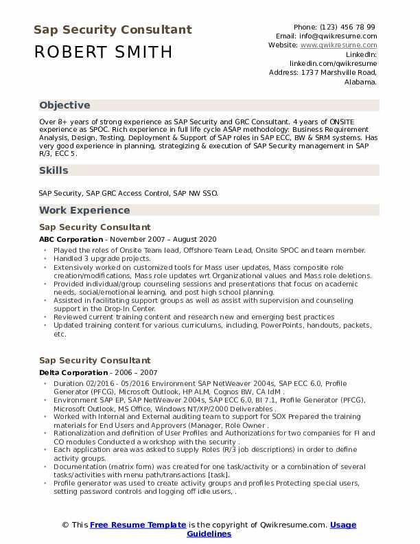 sap security consultant resume samples  qwikresume