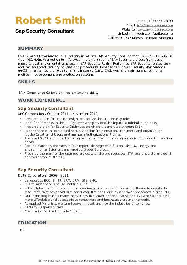 SAP Security Consultant Resume example