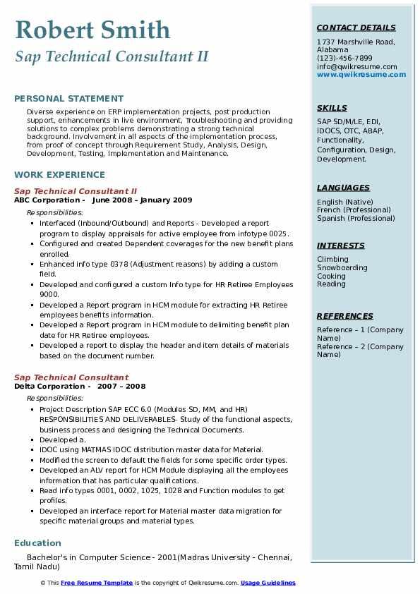sap technical consultant resume samples  qwikresume