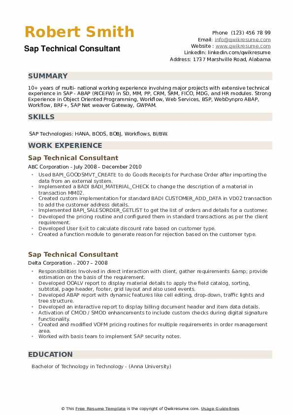 SAP Technical Consultant Resume example