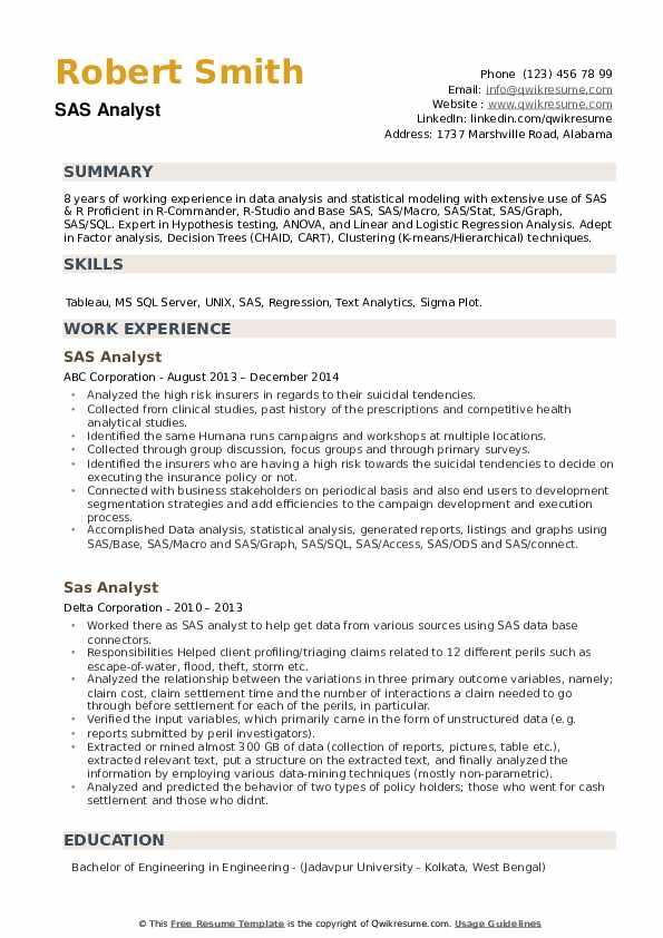 SAS Analyst Resume example