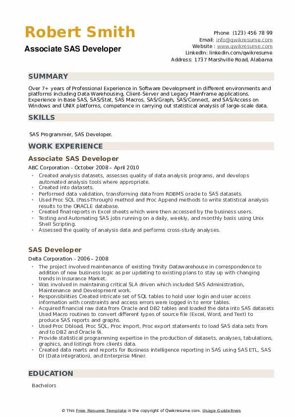 SAS Developer Resume example