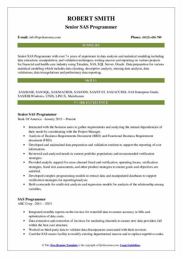 Senior SAS Programmer Resume Template