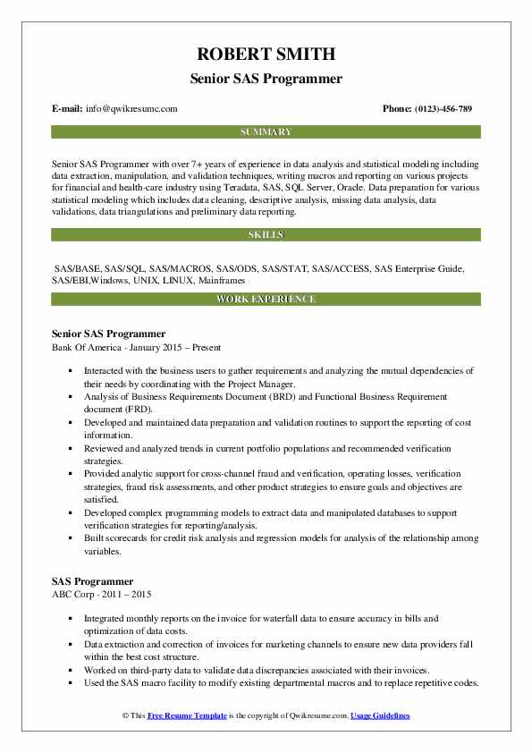 Senior SAS Programmer Resume Format