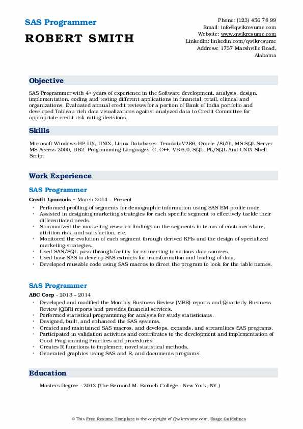 sas programmer resume samples