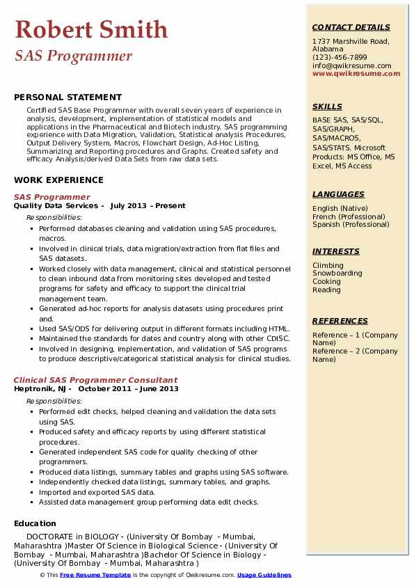 SAS Programmer Resume Samples | QwikResume