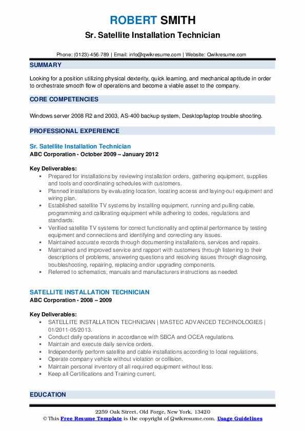 Sr. Satellite Installation Technician Resume Format