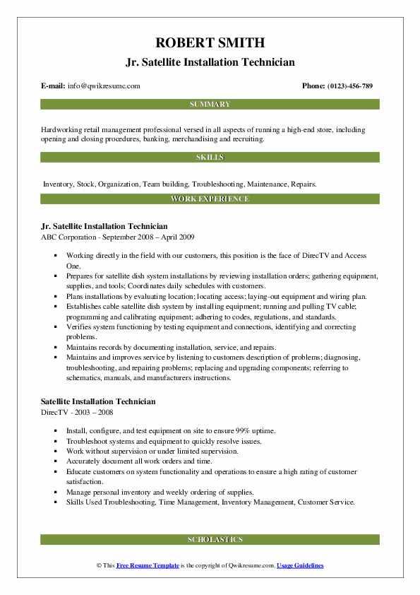 Jr. Satellite Installation Technician Resume Sample