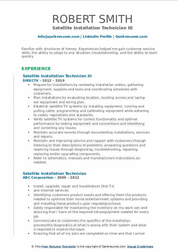 Satellite Installation Technician III Resume Model
