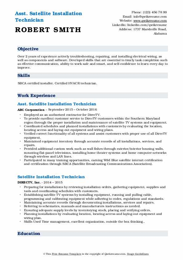 Asst. Satellite Installation Technician Resume Model