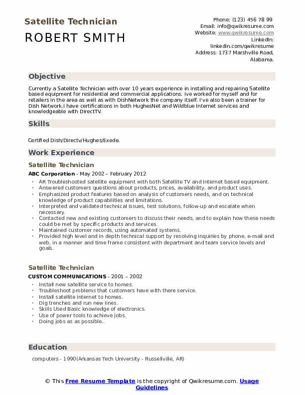 Satellite Technician Resume Samples | QwikResume